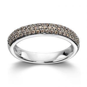 Mestergull Delikat ring i hvitt gull med brune diamanter MG DIAMONDS Ring