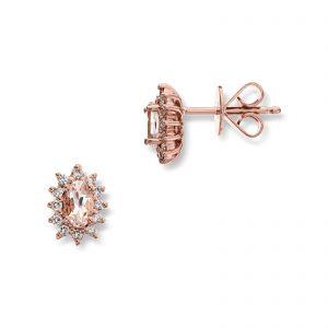 Mestergull Klassik ørepynt i rosè gull med diamanter og morganitt MG DIAMONDS Ørepynt