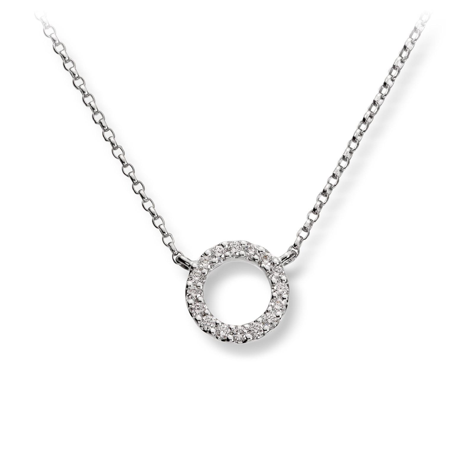Mestergull Elegant kjede i hvitt gull med diamanter MG DIAMONDS Anheng