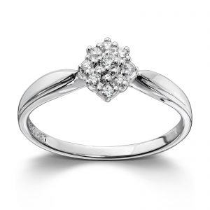 Mestergull Klassisk diamantring i hvitt gull med 9 diamanter MG DIAMONDS Ring