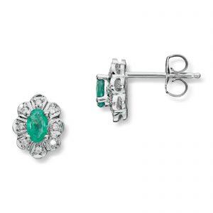 Mestergull Klassisk ørepynt i hvitt gull med smaragder og diamanter MG DIAMONDS Ørepynt