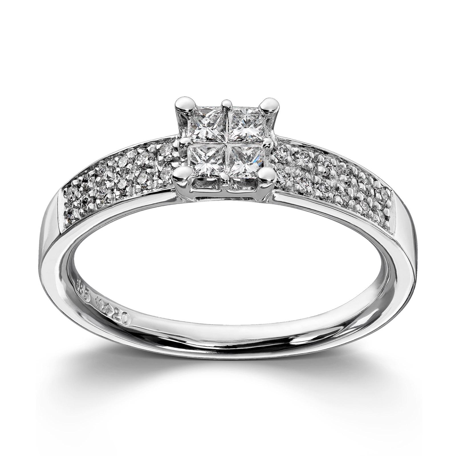 Mestergull Stram og elegant ring i hvitt gull med prinsesseslipte diamanter MG DIAMONDS Ring