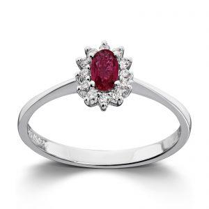 Mestergull Klassisk ring i hvitt gull med rubin og diamanter MG DIAMONDS Ring