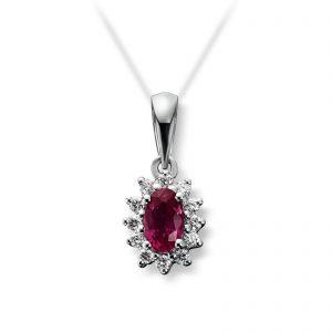 Mestergull Klassisk anheng i hvitt gull med rubin og diamanter MG DIAMONDS Anheng