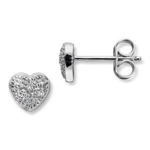 Mestergull Elegant hjerte ørepynt i hvitt gull med diamanter MG DIAMONDS Ørepynt