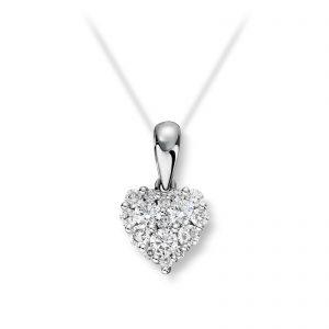 Mestergull Romantisk hjerteanheng i hvitt gull med diamanter MG DIAMONDS Anheng