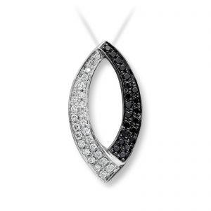 Mestergull Stilfullt anheng i hvit gull med sorte og hvite diamanter MG DIAMONDS Anheng