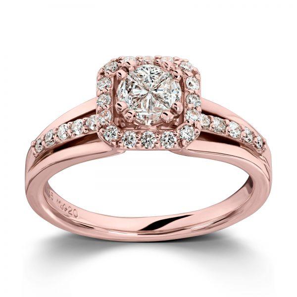 Mestergull Vakker ring i rosè gull med diamanter og princess cut diamanter MG DIAMONDS Ring