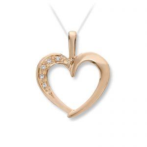 Mestergull Pent hjerteanheng i gult gull med diamanter MG DIAMONDS Anheng