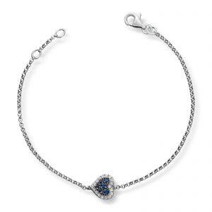 Mestergull Vakkert hjertearmbånd i hvitt gull med diamanter og safir MG DIAMONDS Armbånd