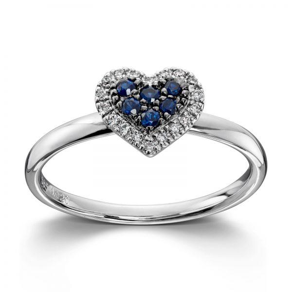 Mestergull Vakker hjertering i hvitt gull med diamanter og safir MG DIAMONDS Ring