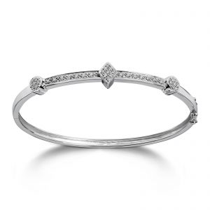 Mestergull Vakker armring i hvitt gull med diamanter MG DIAMONDS Armring