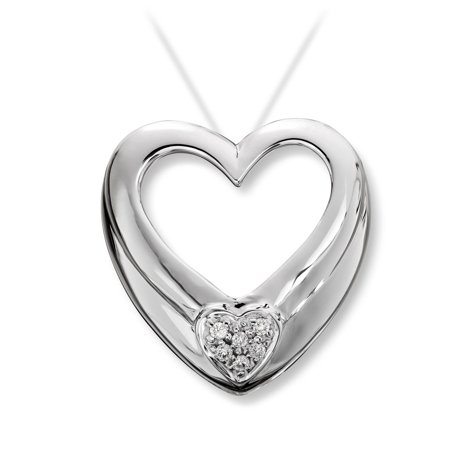 Mestergull Elegant hjerteanheng i hvitt gull med diamanter MESTERGULL Anheng