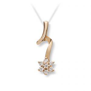 Mestergull Flott anheng i gult gull med diamanter MG DIAMONDS Anheng
