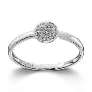 Mestergull Delikat ring i hvitt gull med diamatner MG DIAMONDS Ring