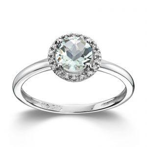 Mestergull Lekker ring i hvitt gull med prasiolitt og diamanter MG DIAMONDS Ring
