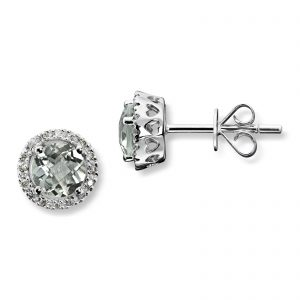 Mestergull Lekker ørepynt i hvitt gull med prasiolitt og diamanter MG DIAMONDS Ørepynt