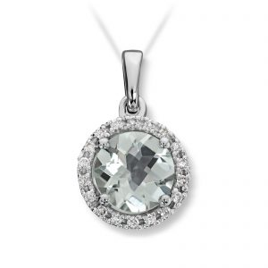 Mestergull Lekkert anheng i hvitt gull med prasiolitt og diamanter MG DIAMONDS Anheng
