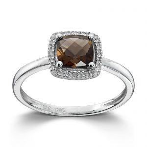 Mestergull Lekker ring i hvitt gull med diamanter og røkkvarts MG DIAMONDS Ring