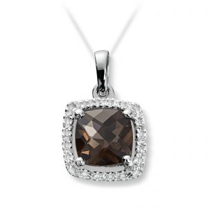 Mestergull Lekkert anheng i hvitt gull med diamanter og røkkvarts MG DIAMONDS Anheng