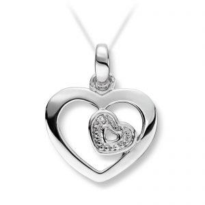 Mestergull Vakkert hjerte i hvitt gull med diamanter MESTERGULL Anheng