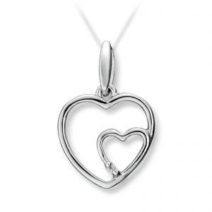 Mestergull Flott hjerteanheng i hvitt gull med diamant MESTERGULL Anheng