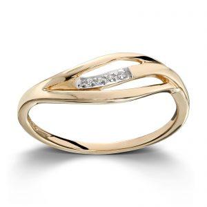 Mestergull Elegant ring i gult gull med cubic zirkonia MESTERGULL Ring