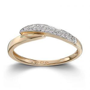 Mestergull Fin ring i gult gull med cibic zirkonia MESTERGULL Ring