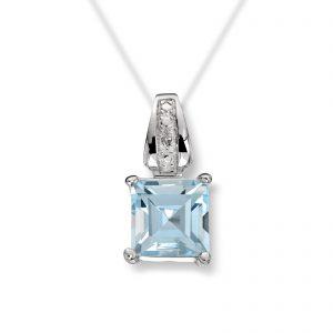 Mestergull Lekkert anheng i hvitt gull med blå topas og diamanter MESTERGULL Anheng