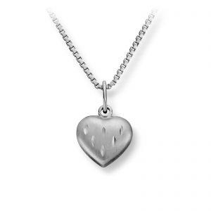 Mestergull Søtt jordbær hjerteanheng i sølv MG BASIC Anheng