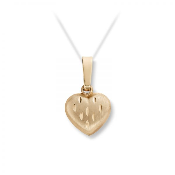 Mestergull Søtt jordbær hjerteanheng i gult gull MG BASIC Anheng