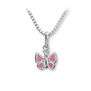 Mestergull Søt sommerfuglanheng i sølv med rosa lakk MG BASIC Anheng