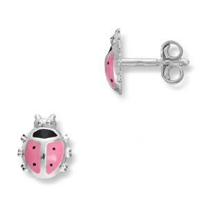Mestergull Søt marihøneørepynt i sølv med rosa lakk MG BASIC Ørepynt