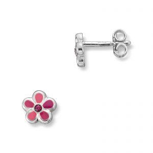 Mestergull Søt ørepynt i sølv med glassten og rosa lakk MG BASIC Ørepynt