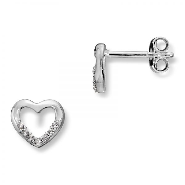 Mestergull Elegant hjerteørepynt i sølv med cubic zirkonia MG BASIC Ørepynt