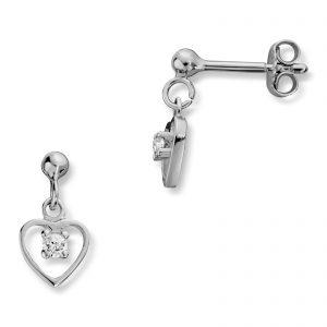 Mestergull Enkel hjerteørepynt i sølv med hvit krystal MG BASIC Ørepynt