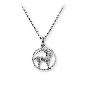 Mestergull Stjernetegn anheng i rhodinert sølv, Steinbukken MG BASIC Anheng