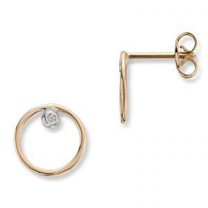 Mestergull Flott ørepynt sirkel i gull med diamant MESTERGULL Ørepynt