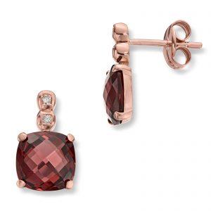 Mestergull Elegant ørepynt i rødt gull med granat og diamanter MG DIAMONDS Ørepynt