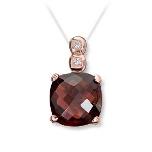 Mestergull Elegant anheng i rødt gull med granat og diamanter MG DIAMONDS Anheng