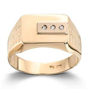 Mestergull Flott herrering i gult gull med diamanter MESTERGULL Ring