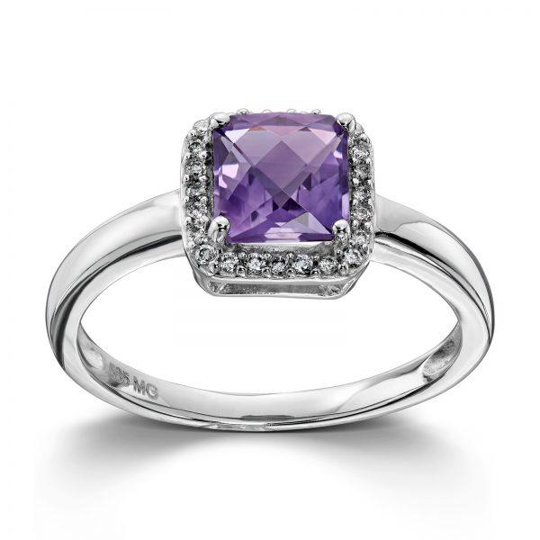 Mestergull Lekker ring i hvitt gull med diamanter og ametyst MG DIAMONDS Ring
