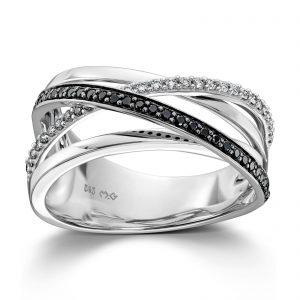 Mestergull Lekker ring i hvitt gull med hvite og sorte diamanter MG DIAMONDS Ring