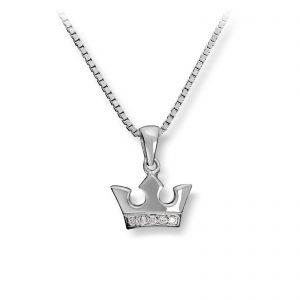 Mestergull Krone anheng i sølv med cubic zirkonia MG BASIC Anheng