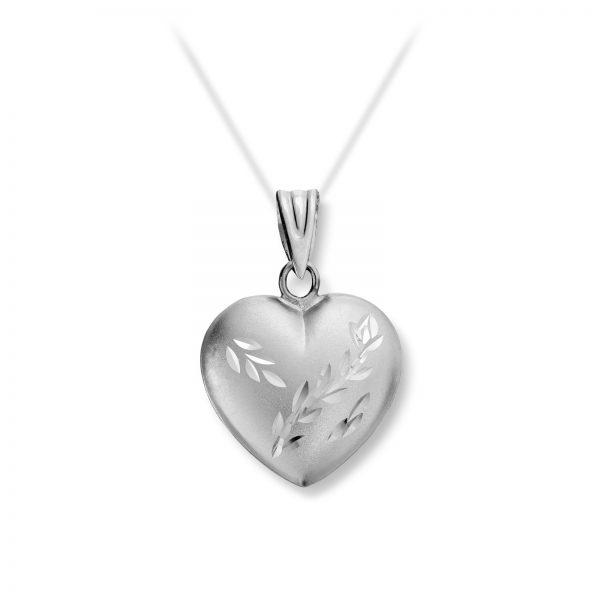 Mestergull Delikat hjerte i hvitt gull med floralt mønster MG BASIC Anheng