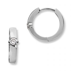 Mestergull Enkel øreringe i rhodinert sølv med cubic zirkonia MG BASIC Ørepynt