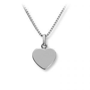 Mestergull Enkelt hjerteanheng i rhodinert sølv MG BASIC Anheng