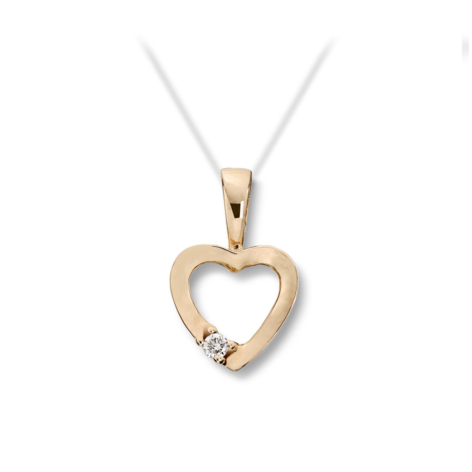Mestergull Stilrent hjerteanheng i gult gull med diamant MG BASIC Anheng