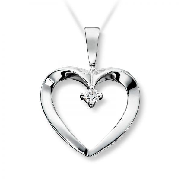 Mestergull Fint hjerteanheng i hvitt gull med diamanter MG DIAMONDS Anheng
