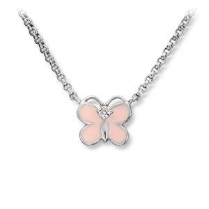 Mestergull Søtt kjede i rhodinert sølv med sommerfulg i rosa emalje MG BASIC Anheng